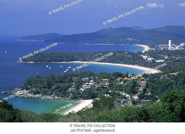 Thailand, Phuket, Kata View Point, View of Kata,  Karon, and Patong Beaches