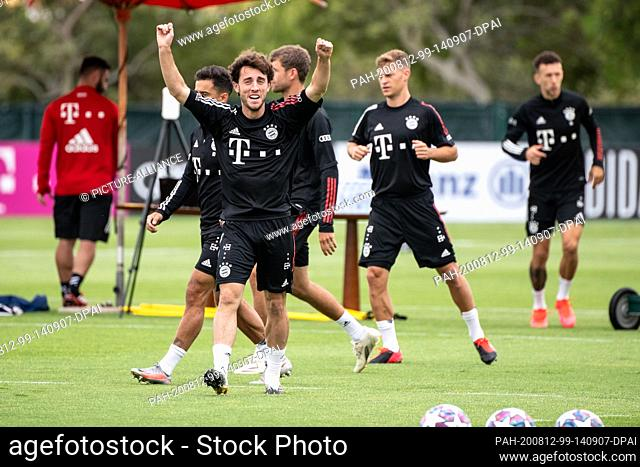 12 August 2020, Portugal, Lagos: Football: Champions League, FC Bayern in training camp in the Algarve before the final tournament in Lisbon