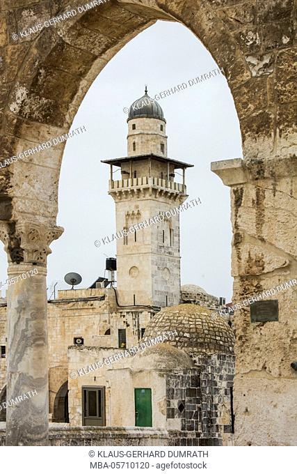 Israel, Jerusalem, Temple Mount, Omar Mosque, minaret, Dome of the Rock, religion, Islam, building