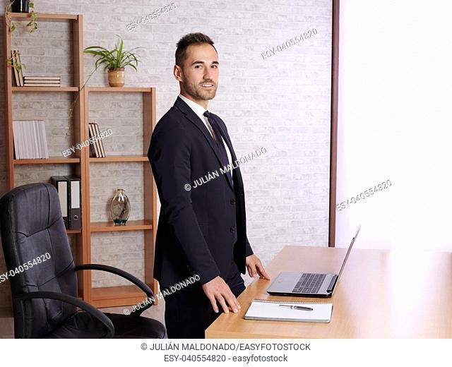 businessman satisfied in his work