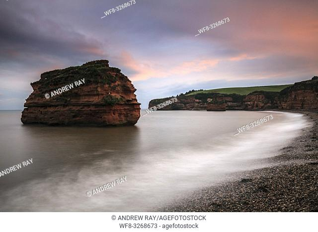 A sandstone sea stack at Ladram Bay near Sidmouth in South East Devon, captured at sunset in mid September
