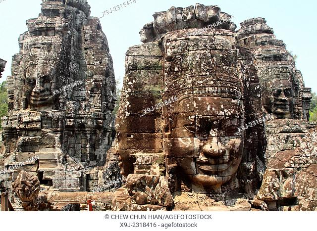 Buddha stone faces of Bayon Temple towers, Angkor Thom, Cambodia