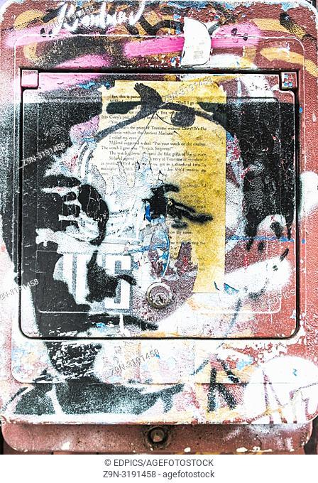 stencil portrait of french poet arthur rimbaud, paris, ile de france, france