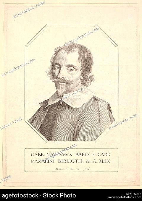 Gabriel Naudé. Artist: Claude Mellan (French, Abbeville 1598-1688 Paris); Sitter: Portrait of Gabriel Naudé (French, Paris 1600-1653 Abbeville); Date: 1648;...