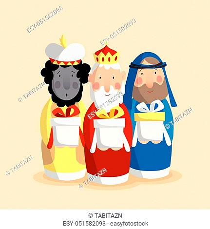 Cute Christmas greeting card, invitation with three magi bringing gifts. Biblical kings Caspar, Melchior and Balthazar. Flat design
