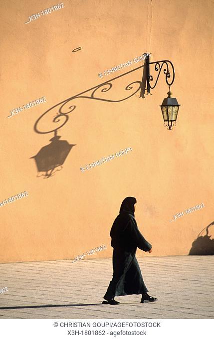 Koutoubia Mosque's surrounding wall, medina of Marrakech, Atlas, Morocco, North Africa