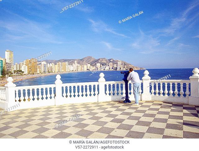 Man at the viewpoint. Benidorm, Alicante province, Comunidad Valenciana, Spain