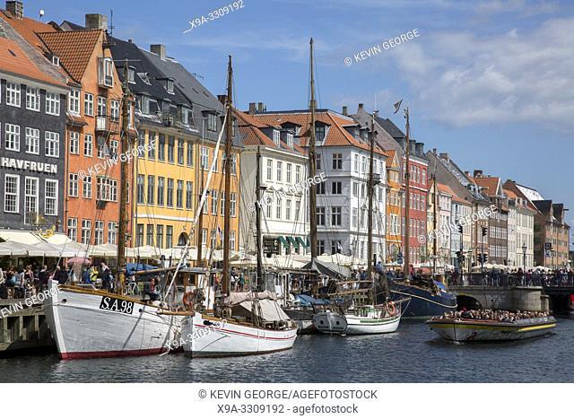 Boats at Nyhavn; Copenhagen; Denmark