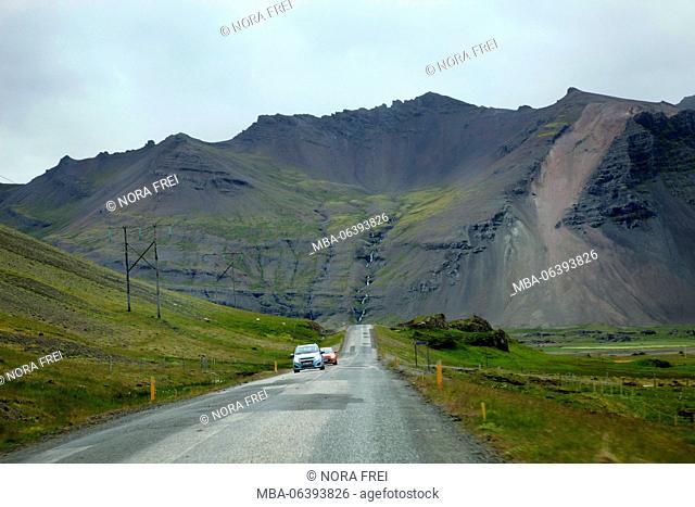 Mountain, street, Iceland, scenery