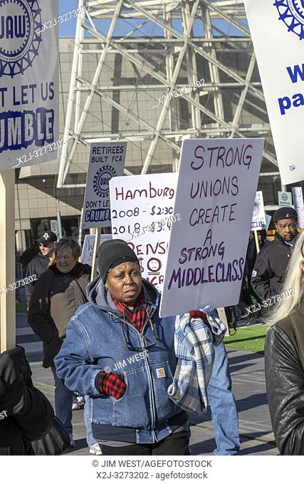 Detroit, Michigan USA - 12 March 2019 - Retired workers from FCA's Jeep plant in Toledo, Ohio rally outside the United Auto Workers' bargaining convention