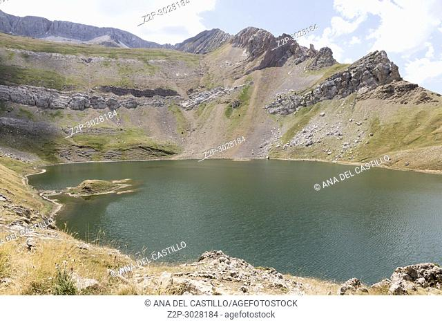 Asnos lake in Panticosa pistes summertime. Huesca, Aragon, Spain