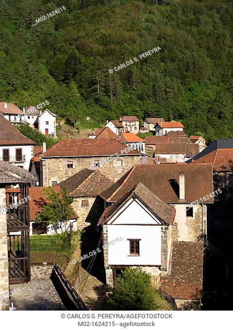 Uztarros Village at Roncal Valley in Pyrenees Mountains, Navarre Spain
