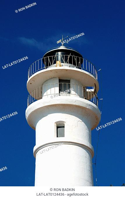 There are many lighthouses along the Costa del Sol. This is the top of the lighthouse at Torrox Costa,an especially rocky part of the coastline presenting a...