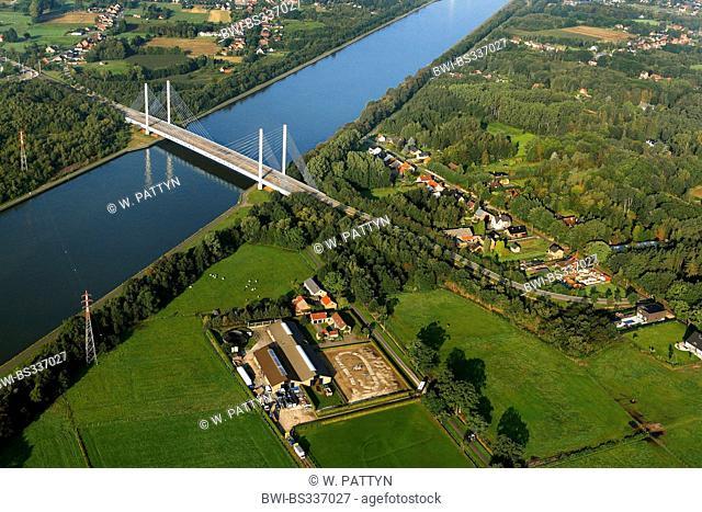 aerial view to Albert Canal and cable-stayed bridge, Belgium, Flanders, Diepenbeek