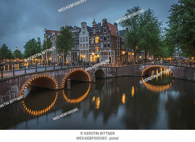 Netherlands, County of Holland, Amsterdam, Emperor's Canal and Leidse Canal in the evening, Bridge
