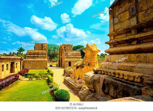 Great architecture of Hindu Temple dedicated to Shiva, fragment complex ancient Gangaikonda Cholapuram Temple, India, Tamil Nadu