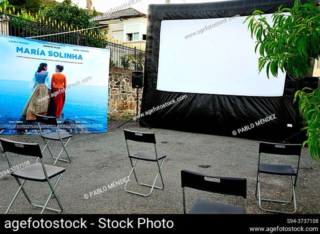 Street Cinema. Maria Solinha in Alcouce square, Seadur, Larouco council, Orense, Spain