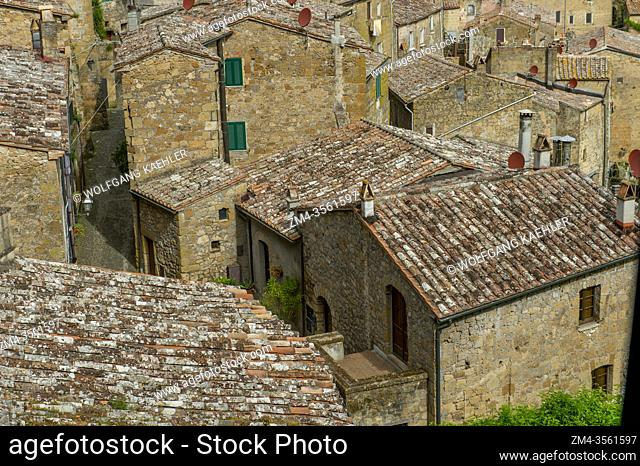 View of rooftops in Sorano, a town and commune in the province of Grosseto, southern Tuscany, Italy