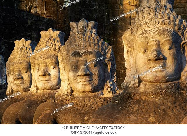 Southeast Asia, Cambodia, Siem Reap Province, Angkor site, Unesco world heritage since 1992, Ancient city of Angkor Thom, South Entry Gate