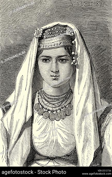 Countrywoman from Split area, Croatia, Europe. Old engraving illustration Trip to Istria & Dalmatia 1874 by Charles Yriarte