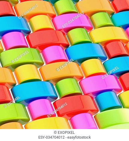 Abstract background composition made of multiple colorful glossy links