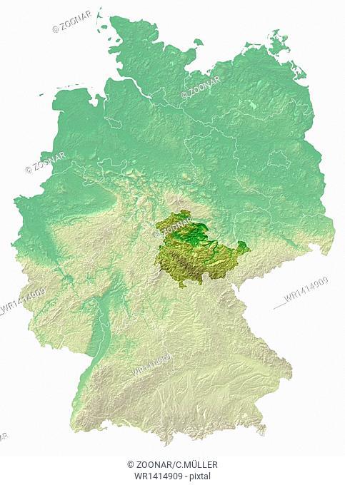 Thuringia - relief map