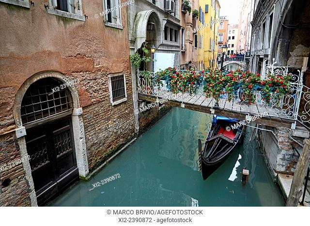 A gondola in a canal of Venice, Italy, near St. Mark's square
