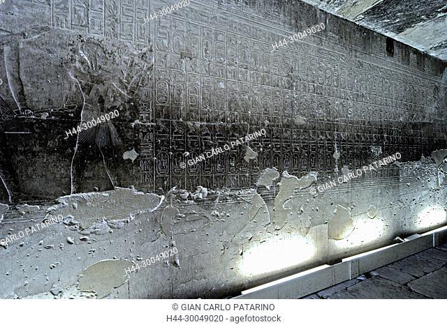 Abydos, Egypt, the mortuary temple of pharaoh Seti I, Menmaatra, (XIX° dyn. 1321-1186 B.C.) - Partial view of the Kings list