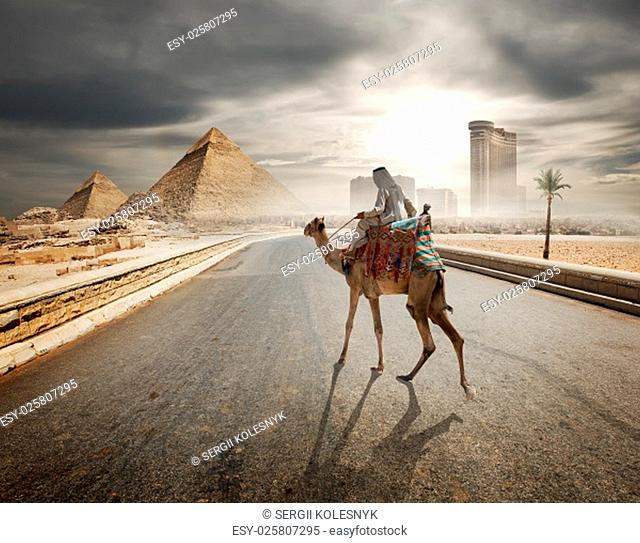 Cloudy evening over the road to pyramids