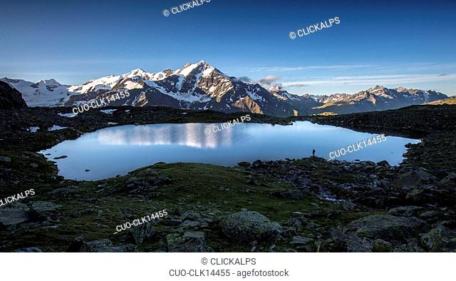 A panoramic view of Lake Manzina and the Pizzo Tresero in the background, Valfurva, Lombardy, Italy, Europe