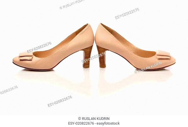 Beige shoes isolated on white