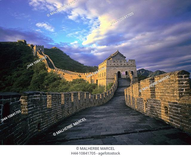 China, Asia, Great Wall of China, Great Wall, Beijing, Great Wall, near Mutianyu, Asia, landscape, historic, hills, UN