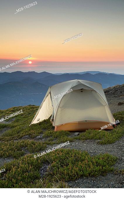 Sunset on backcountry campsite on Skyline Divide, Mount Baker Wilderness, North Cascades Washington
