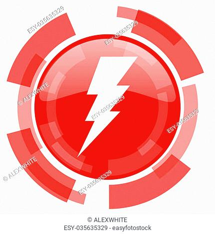 bolt red glossy web icon