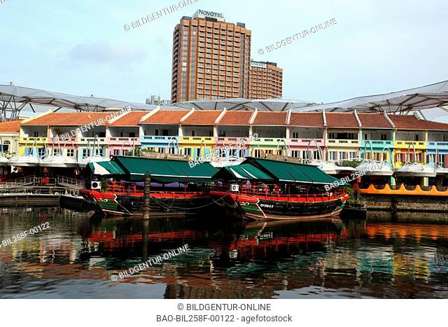The boat harbour for Flussfarten on the Singapore River in Clarke Quay in city centre of Singapore, Singapore