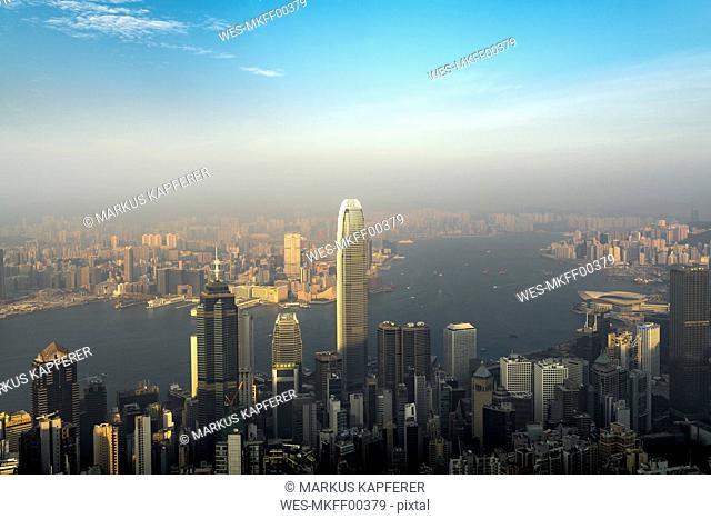 China, Hong Kong, skyline in the evening