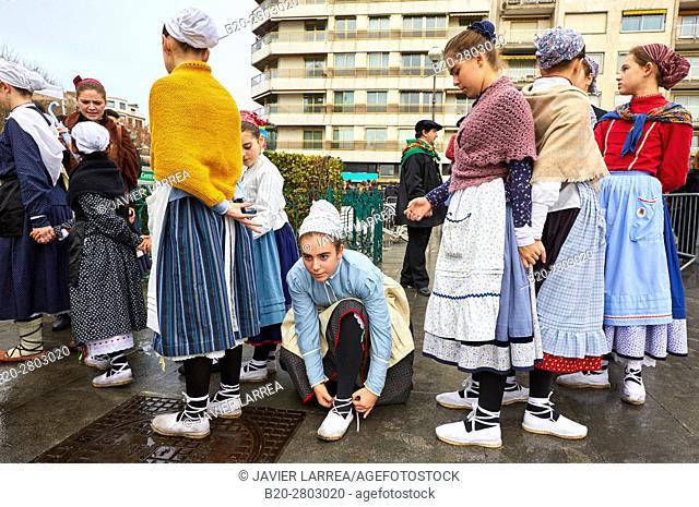 Basque dances and regional costumes, Olentzero, Christmas, Town hall, Donostia, San Sebastian, Gipuzkoa, Basque Country, Spain, Europe