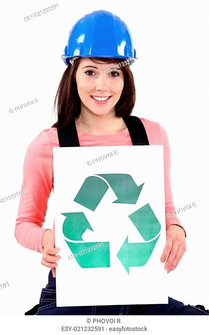 Woman holding the recycling arrow logo