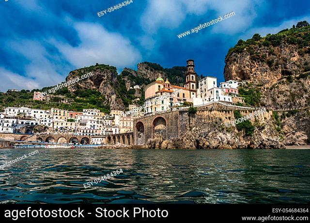Panoramic view of Atrani, small village on Amalfi Coast, Italy