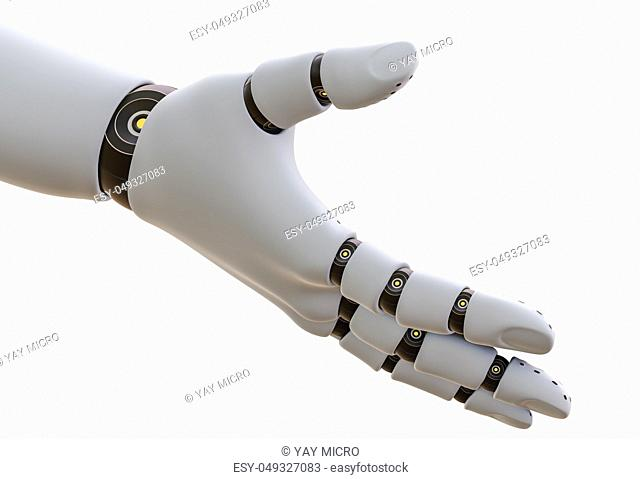 White Robot Hand, Isolated on White Background. 3D rendering