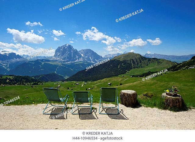 South Tirol, Italy, Europe, Dolomites, mountain landscape, mountains, scenery, nature, Grödnertal, Val Gardena, lying, view, Seceda, outside, day, Trentino