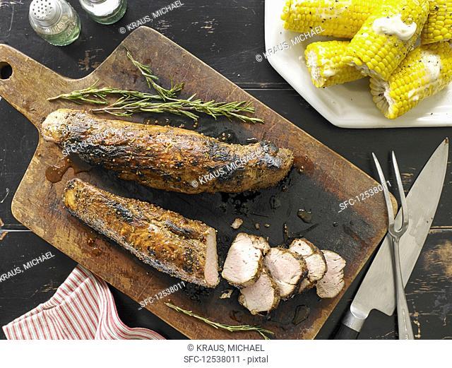 Mustard-Glazed Pork Tenderloin with Corn