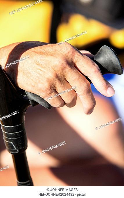 Hand on crutch