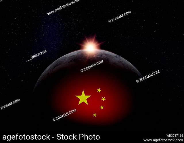 View of the dark hidden side of the Moon with the Chinese flag on it and the Sun behind it. Negative space for copy text