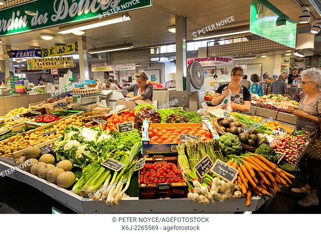 French fruit and veg market stall in covered market