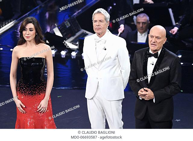 Italian hosts Virginia Raffaele, Claudio Baglioni and Claudio Bisio at the fifth and last evening of the 69th Sanremo Music Festival
