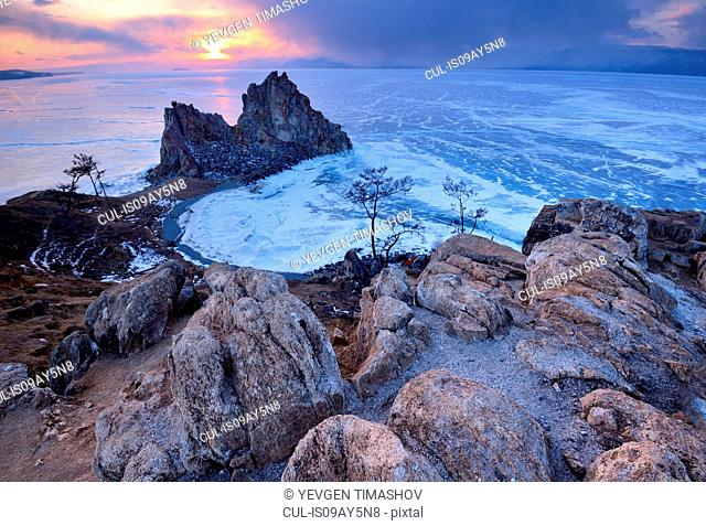 Shamanka Rock on Burkhan Cape at sunset, Baikal Lake, Olkhon Island, Siberia, Russia