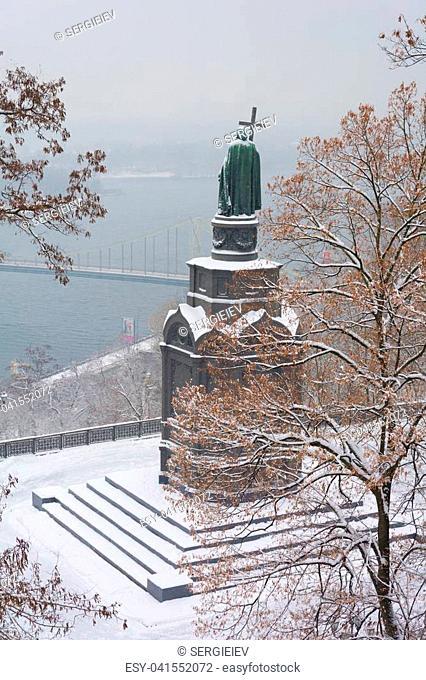 KIEV, UKRAINE - DECEMBER 2, 2016: The majestic monument to Prince Vladimir in winter cold, Kiev, Ukraine