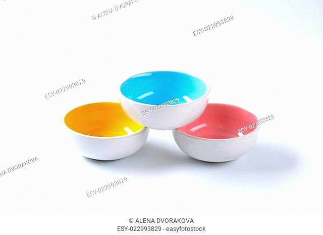 Empty round bowls