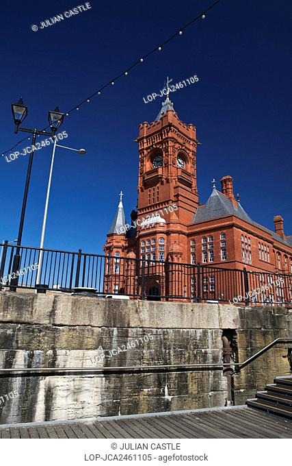 Wales, Cardiff, Cardiff Bay. The Pierhead building, a Grade 1 listed building in Cardiff Bay. The building was originally built in 1891 as the headquarters for...